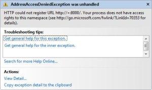AddressAccessDeniedxception