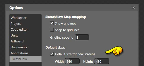Setting the Default Screen Size in SketchFlow