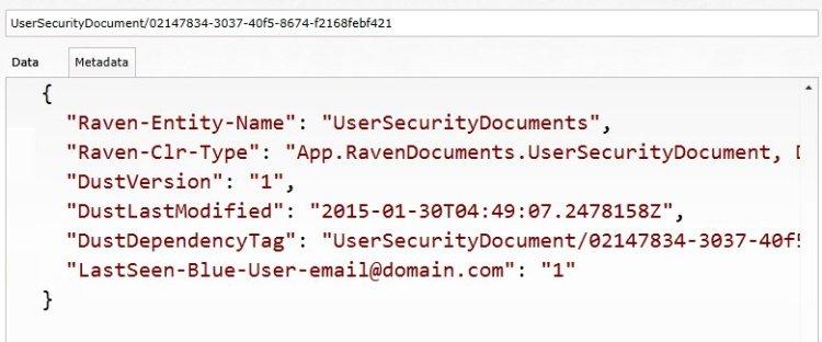 RavenDB Invalid metadata