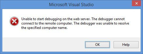 Unable to start debugging on the web server