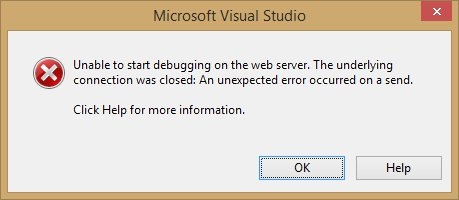 Unable to start debugging on the web server.